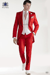 Wholesale Red Vest Tie - Custom Design Red Tailcoat Groom Tuxedos Peaked Lapel Best Men's Wedding Dress Prom Holiday Suit(Jacket+pants+tie+Vest)830