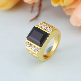 Wholesale Diamante Charms - Wholesale! New Trendsetter Rings 24K Gold Plated Diamante Black Onyx Rings High Quality Charm Bague Polishing For Hip Hop Fine Jewelry