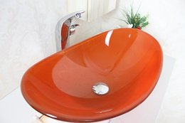 Wholesale Hot N Cold - Orange Clear Oval Shape Tempered Glass Vessel Sink With Hot And Cold Faucet Set N-329