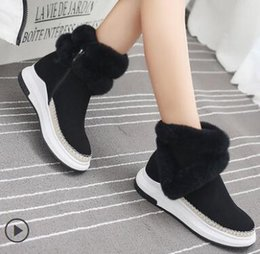 Wholesale Halloween Muffin - A real wool decorative flat bottom raised short boots Are the muffin bottom collocation, warm and comfortable free shipping