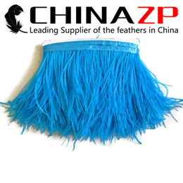 Wholesale Turquoise Feather Dress - CHINAZP Crafts Factory 10yards lot 10~15cm(4~6inch) Width Beautiful Dyed Turquoise Ostrich Feather Trim Fringe for Fancy Dress Party