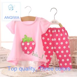 Wholesale Toddler Under Pants - 2 piece girls boys baby kids clothe cartoon 100% cotton material Toddler T-shirt Top+Pants Shorts Outfit Clothes Set 6-24month