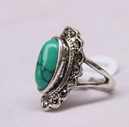 Wholesale Turquoise Stone Ring Free Shipping - Free Shipping Fine classic 925 silver Turquoise ring Silver ring Lord of the rings The treasure jade stone wholesale