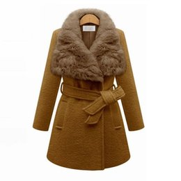 Wholesale Women Winter Long Coats Cheap - CAF208- NEW CHEAP Quality Winter Wool Coat Women with Big Rabit Fur Collar Elegant Oversized Winter Camel Coat