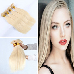 Wholesale Remy Hair Wholesale India - Grade 9A India Weaving Remy Human Straight Natural Hair Bundle 3 Bundles 613 Blonde Color with Factory Direct Supply