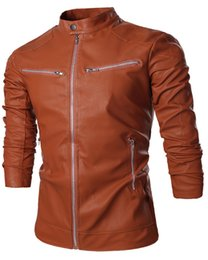 Wholesale Stylish Spring Mens Jackets - Fall-2015 New Arrival Mens PU Leather Jackets Solid Stylish Luxury Spring Autumn Fashion Zippers Regular Jacket H7575 M-XXL