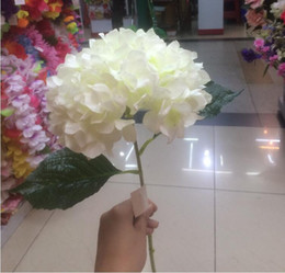 "Wholesale Wholesale Hydrangea Silk Flower - Artificial Hydrangea Flower 80cm 31.5"" Fake Silk Single Hydrangeas 6 Colors for Wedding Centerpieces Home Party Decorative Flowers SF015"