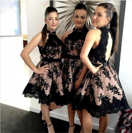 Wholesale Hot Arabic Wedding Dresses - Hot Arabic Black Lace Appliques Knee Length Bridesmaid Dresses Cheap High Neck Open Back Wedding Party Dress Fast Shipping