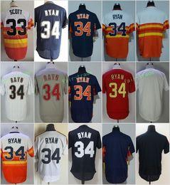 Wholesale Rainbow Jersey - Houston #33 Mike Scott #34 Nolan Ryan Flexbase Jerseys Cool Base Throwback Stitched Rainbow Red White Blue Grey Turn Back 2002-2012