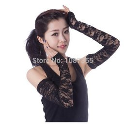 Wholesale thin arm sleeves - Wholesale-Women's Lace Sunscreen Elegant Anti-UV Long Thin Arm Sleeve Outdoor Electric Bicycle Car Driving Black White Arm Warmer