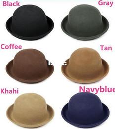 Wholesale Wool Felt Blend Wholesale - Vintage Women Lady Cute Trendy Wool Felt Bowler Derby Fedora Hat Cap Hats Caps