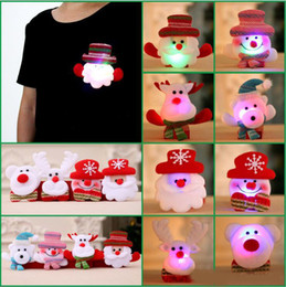 Wholesale Light Up Christmas Ornaments - High Quality LED Christmas Brooches Snow man Santa Claus Elk Bear Pins Badge Light Up Brooch Christmas Gift Party decoration Kids Toy