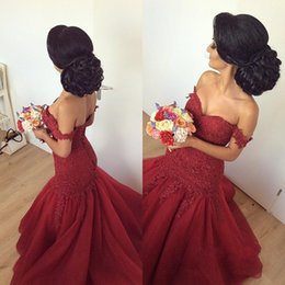 Wholesale Sexy Mermaid Quinceanera - Latest Sweetheart Dark Red Mermaid Quinceanera Dresses Appliques Lace up Back Sweep Train Sweet 16 Dresses Vestidos De Quinceanera Gowns