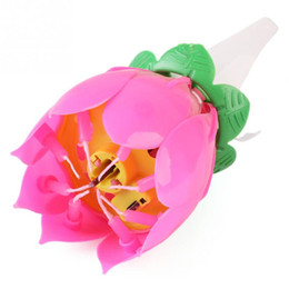 Wholesale 1x Pink Magical Flower Musical Birthday Candle Party Decoration Gift Sparkler Cake Topper For