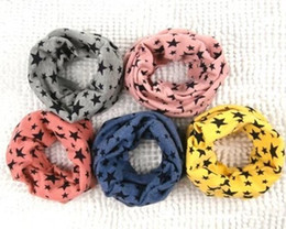 Wholesale Polka Scarves - Hot Sale Baby boys girls smile scarf Children's ring autumn and winter New Fashion scarf kids stars Scarves & Wraps 8 color for choose