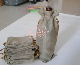 Wholesale Jute For Paper Bag - Wholesale- 20 pcs 15x37cm Single bottle stamping jute wine gift bags wine pouches Gift bags for Party wedding bomboniere