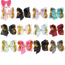 Wholesale Mixed Organza Ribbon - 12pcs Lot 4'' Lovely Girls Solid Ribbon Gold Organza Hair Bows With Clip Boutique Hair Clip Hairpin Kids Hair Accessories