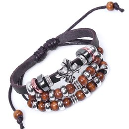 Wholesale Wholesale Zen Bracelets - Wholesale-BA037 Leather Cross Tibitan Zen Charm Beads Handmade Bracelet Bangle Adjustable Wristband