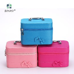 Wholesale Mirror Makeup Fashions - 2017 Women Fashion Pu Leather Solid Bow Cosmetic Bag Cases with Mirror Beauty Makeup Box with 3 Colors Storage Cosmetic Cases