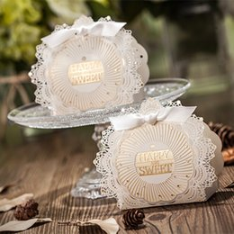Wholesale Cute Graduation Gifts - Cute High Quality Laser Cut Hollow Carriage Baby Shower Favors Boxes Gifts Candy Boxes Favor Holders With Ribbon Wedding Party Supplies