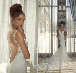 Wholesale Spaghetti Strap Dress Shining - Glamorous Backless Wedding Gowns 2015 from Eiffelbride with Glamorous Shining Pearls Lace Applique Elegant Long Train Mermaid Bridal Dresses