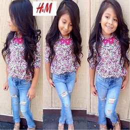 Wholesale Denim Suits Girls - Kids Suit Outfits Girl Clothes Long Sleeve Floral Shirt+Pant Child Suit Kids Sets Girls Outfits Children Clothing