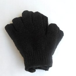 Wholesale Exfoliating Cleaner - Color Black Peeling Glove Scrubber Five Fingers Exfoliating Tan Removal Bath Mitts Paddy Soft Fiber Massage Bath Glove Cleaner