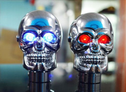 Wholesale Led Gear Knobs - Shift Lever Knob Manual Shifter Gear Universal Skull Head LED light Blue Red