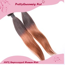 Wholesale 5a Remy Hair - Peruvian Two Tone #1B 30 Ombre Color Straight Human Hair Three Mix Size Hair Wefts Hair Extensions Unprocessed Remy Virgin Hair 5A