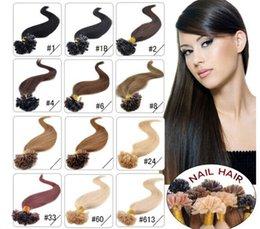 "Wholesale Nail Tip Indian Hairs - Wholesale- 14"" - 24"" 0.8g s 160g lot 200s lot keratin nail u Tip Hair Pre Hair Extensions 1# 1B# 2# 4# 6# 27# 99J# 27# 613#dhl free shpping"