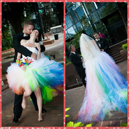 Wholesale Dress Short Satin Ruched Bodice - 2017 Halter Satin Bodice Sleeveless Ball Gown Wedding Dresses Rainbow Colorful High Low Bridal Gowns Court Train Short Front Long Back