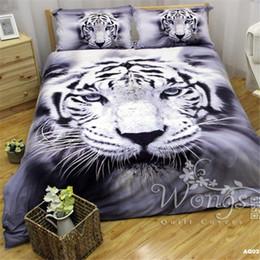 Wholesale Duvet Cover Set Tiger - White Tiger Pattern Cotton Bedding Sets Great Duvet Cover Sets 3D Animal Design for Sale AQ02-1100