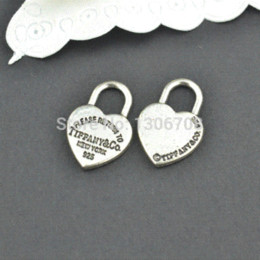 Wholesale Antique Coin Jewelry - 50pcs Antique metal tibetan silver charms hearts lock jewelry pendants for diy necklace bracelet jewelry findings 20*13mm Z42903