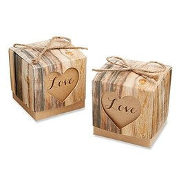 """Wholesale Love Express - (250PCS LOT) 2015 New Arrival Wedding Gift box of """"Hearts in Love"""" Rustic Favor Box Kraft Party Candy box Express Free Shipping"""