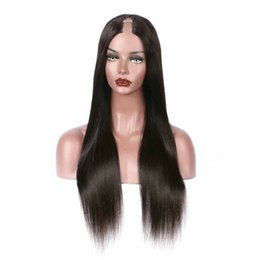 Wholesale chinese virgin wig - U Part Wig Human HairWholesale Price Best Quality Silky Straight Peruvian Virgin Hair U Part Human Hair Wigs Straight Upart Wig