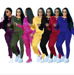 Wholesale Girls Jogging Pants - Hoodies Sweatshirt Pants Sets Corrugated Edge Pants Casual Tracksuit Jogging Gym Sport Suit Drawstring Ruffle Pleated Pencil Pant OOA3682