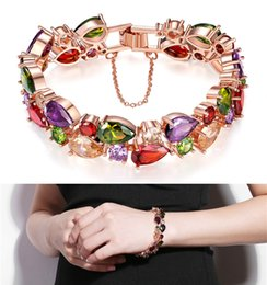 Wholesale Hot Lisa - Hot Sale Fashion Mona Lisa Multicolor Cubic Zircon Bracelets Bangles Luxury Wedding Bracelets for Women Crystal Jewelry J12S