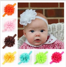 Wholesale Eyelet Headbands - new Baby girls Headbands Baby Hair Accessory Eyelet Flower Headbands On Shimmer Fold Over Headbands For Newborn Baby Toddlers
