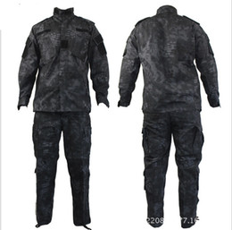 Wholesale Tactical Black Suit - Tactical Rattlesnake Mandrake BDU Uniform Combat Suit Set Shirt & Pants Ripstop for Gun fighter with Kryptek style