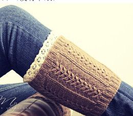 Wholesale Lace Top Boot Socks Wholesale - 2015 Lace Cable Knit Boot Cuff knit boot topper faux legwarmers sock tops knit leg warmers boot warmers 6 colors 24 pairs lot #3712