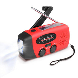 Wholesale Solar Charger Emergency Power - New Protable Solar Radio Hand Crank Self Powered Phone Charger 3 LED Flashlight AM FM WB Radio Waterproof Emergency Survival Red
