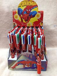 Wholesale Wholesale Plastic Pencil Boxes - 2 Box 96 pcs Spiderman Stationery 4 Color BallPoint Pens Pencil Wholesale
