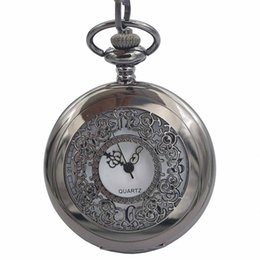 Wholesale Wholesale Skeleton Pocket Watch - Japen PG21J Quartz Movement Pocket Watch Black Case With Chain Small Clock Mens Watch Casual Skeleton half hunter Timepieces As Gift For men
