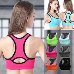 Wholesale Nylon Running Vest - Solid color Bra Running Sports Shirts Yoga Gym Vest Push Up Fitness Tops Sexy Underwear Lady Crop Tops Shakeproof Strap Bra MK192