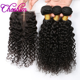 Wholesale Long Curly Human Hair Weave - Choshim Brazilian Deep Curly Human Hair 3 Bundles With 4x4 Lace Closure Remy Hair Bundle For Hair Extension High Ratio Longest PCT 15%