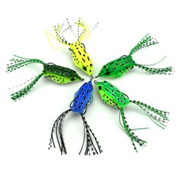 "Wholesale Frog Floats - 100Pcs Soft Frog Plastic Fishing lures Frog lures 5.5cm 2.16"" 8G With Hook Top Water isca Artificial floating fishing bait"