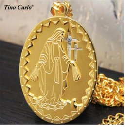 Wholesale Mary Chains - 14 Design Christ Jewelry Micro Virgin Mary Oval Medal Pendant Our Lady And Kinds Necklace Miami Cuban Chain The Madonna Necklace