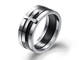 Wholesale Stainless Steel Cross Rings Mens - 2016 Brand New Black Ring Man Fashion Male Jewelry Accessories Wide Cool Cross Rings For Men Titanium Steel Mens Rings Anel