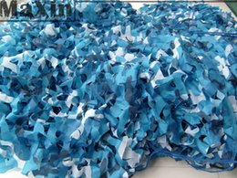 Wholesale Car Drop Netting Hunting - Hunting Military 1x2M Camouflage Netting Ocean Sea Blue Oxford Cloth Net Camo Cover Car Drop Bird Observation Sun Shelter Tent
