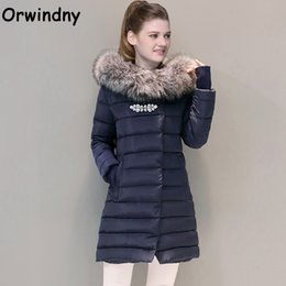 Wholesale Brooch Pad - Wholesale- Orwindny Winter Coat With Fur Collar Brooch Women Clothing Outerwear Cotton-padded Jacket Long Slim Casual Fashion Parkas